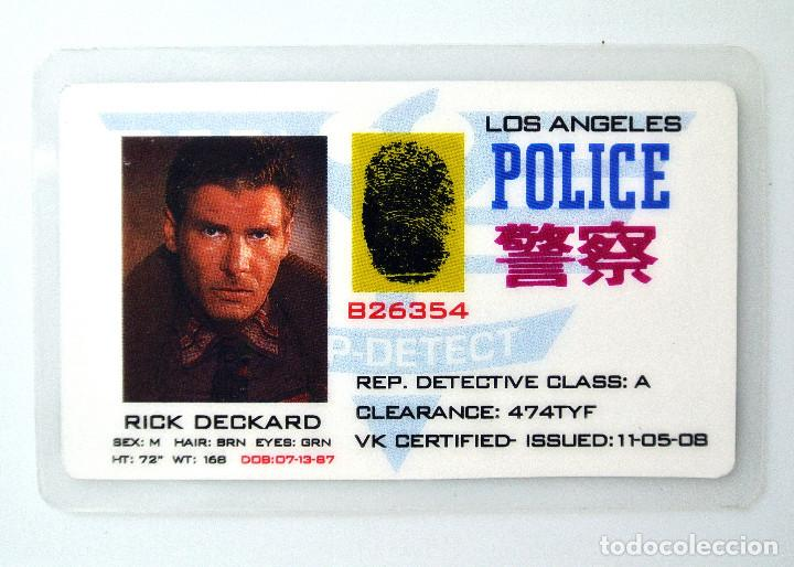 BLADE RUNNER 1982 TARJETA ID RICK DECKARD LOS ANGELES POLICE, REP. DETECTIVE CLASS: A (Cine - Varios)