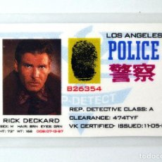 Cinéma: BLADE RUNNER 1982 TARJETA ID RICK DECKARD LOS ANGELES POLICE, REP. DETECTIVE CLASS: A. Lote 262107550