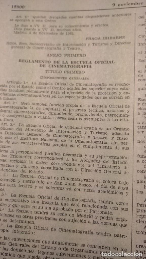 BOLETIN OFICIAL DEL ESTADO NOVIEMBRE 1962. REGLAMENTO NUEVA ESCUELA DE CINE (Cine - Varios)