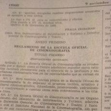 Cinema: BOLETIN OFICIAL DEL ESTADO NOVIEMBRE 1962. REGLAMENTO NUEVA ESCUELA DE CINE. Lote 262724350