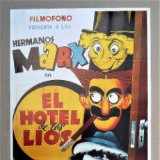 Cine: PÓSTER REPRODUCCIÓN CARTEL CINE HERMANOS MARX HOTEL DE LOS LÍOS. Lote 263612195