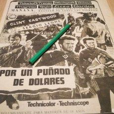 Cinema: POR UN PUÑADO DE DOLARES - ANTIGUO ANUNCIO DE CINE 21/08/72 - RECORTE DE PERIÓDICO ABC. Lote 266454838