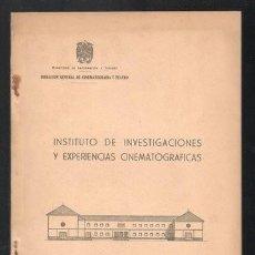 Cinema: INSTITUTO DE INVESTIGACIONES Y EXPERIENCIAS CINEMATOGRAFICAS. Lote 268938214