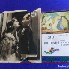 Cine: FLYER VALE PARQUE DE ATRACCIONES MADRID CICLO WALT DISNEY. 1971. REGALO GRETA GARBO. RARO.. Lote 277593978