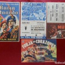 Cinema: 64/ LOTE DE 4 PROGRAMAS DE CINE DOBLES, AÑOS 40. Lote 279552303