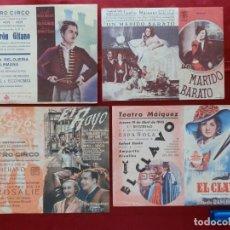 Cinema: 66/ LOTE DE 4 PROGRAMAS DE CINE DOBLES, AÑOS 40. Lote 279552563