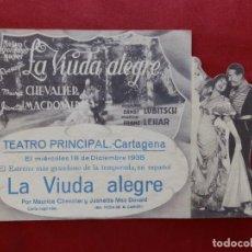 "Cinema: 91/ PROGRAMA CINE DOBLE ""LA VIUDA ALEGRE"",TEATRO PRINCIPAL, CARTAGENA 1935. Lote 284305813"