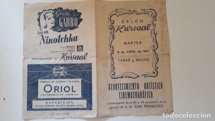Cine: Programa de mano Salón Kursaal. Acontecimiento artístico cinematográfico. Grandioso festival. 1941 - Foto 3 - 288110828