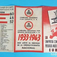 Cine: TRIPTICO PUBLICIDAD DE CIFESA, LA EMPRESA CINEMATOGRAFICA MAS IMPORTANTE DE ESPAÑA 1943 10 ANIVERSA.. Lote 290080963
