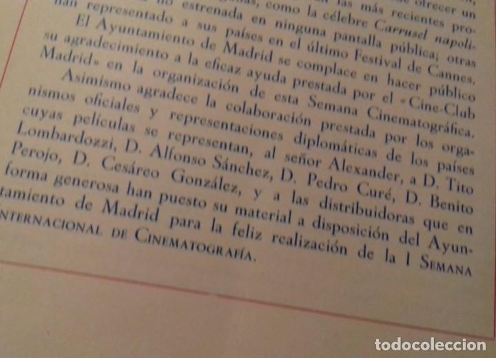 Cine: Programa I Semana Internacional de Cinematografía Ayuntamiento de Madrid año 1954 - Foto 2 - 290133343