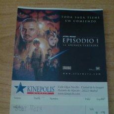 Cine: ENTRADA CINE PELICULA STAR WARS EPISODIO I. LA AMENAZA FANTASMA. Lote 28438516