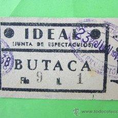 Cine: ENTRADA DE CINE , IDEAL , JUNTA DE ESPECTACULOS 23 JUNIO 1938, PLENA GUERRA CIVIL , MADRID. Lote 30204517