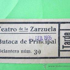 Cine: ENTRADA TEATRO DE LA ZARZUELA - FEBRERO 1935 - EPOCA REPUBLICA MADRID. Lote 30204592