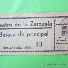 Cine: ENTRADA TEATRO DE LA ZARZUELA - NOVIEMBRE 1937 - EPOCA REPUBLICA , PLENA GUERRA CIVIL , MADRID. Lote 30204665