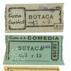 Cine: 3 ENTRADAS DE CINE AÑOS 50, TEATRO ESPAÑOL. TEATRO DE LA COMEDIA, TEATRO ALCÁZAR, MADRD. Lote 31255091
