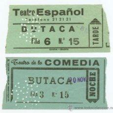 Cine: 2 ENTRADAS DE CINE AÑOS 50, TEATRO ESPAÑOL. TEATRO DE LA COMEDIA MADRID. Lote 31255346
