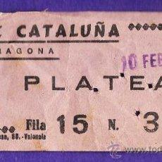 Cine: ENTRADA - CINE CATALUÑA - PLATEA - TARRAGONA - TGN - USADA - AÑO 1974. Lote 32743786