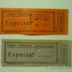 Cine: LOTE 2 ENTRADAS ESPECIAL - CINES PRINCIPAL -DE MONTBLANCH Y ESPLUGA FRANCOLI. Lote 33769766