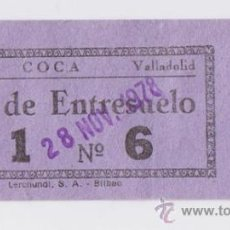 Cine: ENTRADA CINE CINEMA COCA - VALLADOLID - 1978 . Lote 34169341