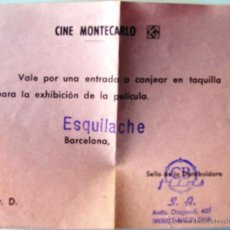 Cine: ENTRADA INVITACIÓN CINE MONTECARLO BARCELONA - ESQUILACHE. Lote 39980894