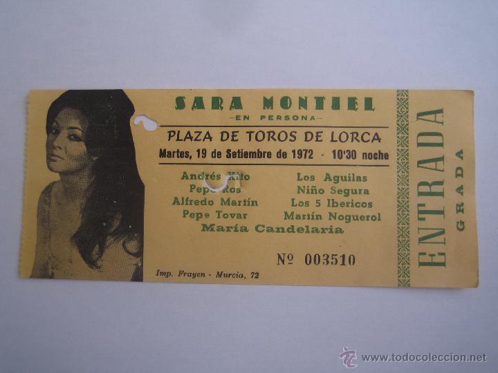 ENTRADA ORIGINAL SARA MONTIEL EN LORCA MURCIA SEPTIEMBRE 1972 LOS 5 IBERICOS LOS AGUILAS (Cine - Entradas)