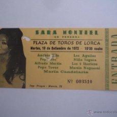 Cine: ENTRADA ORIGINAL SARA MONTIEL EN LORCA MURCIA SEPTIEMBRE 1972 LOS 5 IBERICOS LOS AGUILAS . Lote 41364580