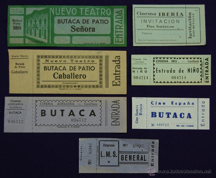7 ENTRADAS DE CINE DIFERENTES. AÑOS 40. ENTRADA. (Cine - Entradas)
