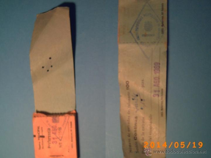 TACO DE ENTRADAS TEATRO PRINCIPAL MONTBLACH TARRAGONA-SELLO INSPECCIÓN MENORES- 1969 (Cine - Entradas)