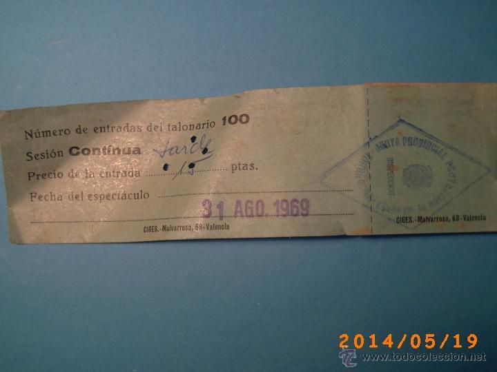 Cine: TACO DE ENTRADAS TEATRO PRINCIPAL MONTBLACH TARRAGONA-SELLO INSPECCIÓN MENORES- 1969 - Foto 3 - 43395535