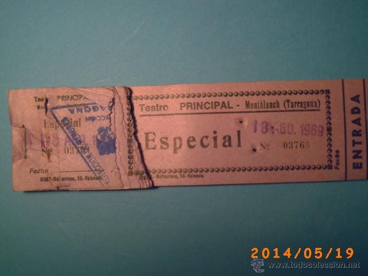 Cine: TACO DE ENTRADAS TEATRO PRINCIPAL MONTBLACH TARRAGONA-SELLO INSPECCIÓN MENORES- 1969 - Foto 2 - 43395596