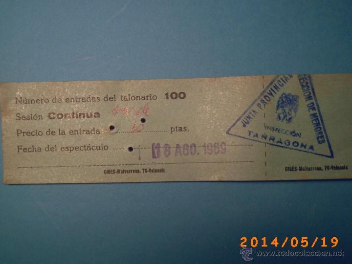 Cine: TACO DE ENTRADAS TEATRO PRINCIPAL MONTBLACH TARRAGONA-SELLO INSPECCIÓN MENORES- 1969 - Foto 3 - 43395596
