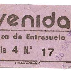 Cinéma: ENTRADA ANTIGUA DE CINE. AVENIDA. MADRID. 1952. Lote 93024130
