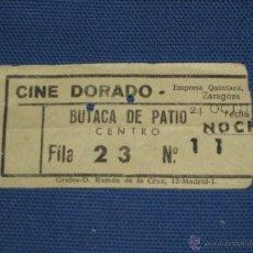 Cine: ENTRADA DE CINE - DORADO - ZARAGOZA - BUTACA DE PATIO - COLOR AMARILLO. Lote 45603621