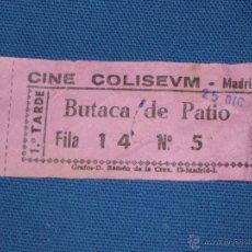 Cine: ENTRADA DE CINE - COLISEUM - MADRID - BUTACA DE PATIO - COLOR ROSA. Lote 45603661