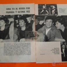 Cine: ARTICULO 1963 - GINA LOLLOBRIGIDA VA AL BOXEO POR PRIMERA Y ULTIMA VEZ BELMONDO - 2 PAGINAS. Lote 45783547