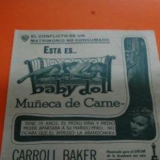 Cine: PUBLICIDAD REVISTA 1957 - BABY DOLL CARROLL BAKER KARL MALDEN ELIA KAZAN CINES DE CUBA . Lote 45892466