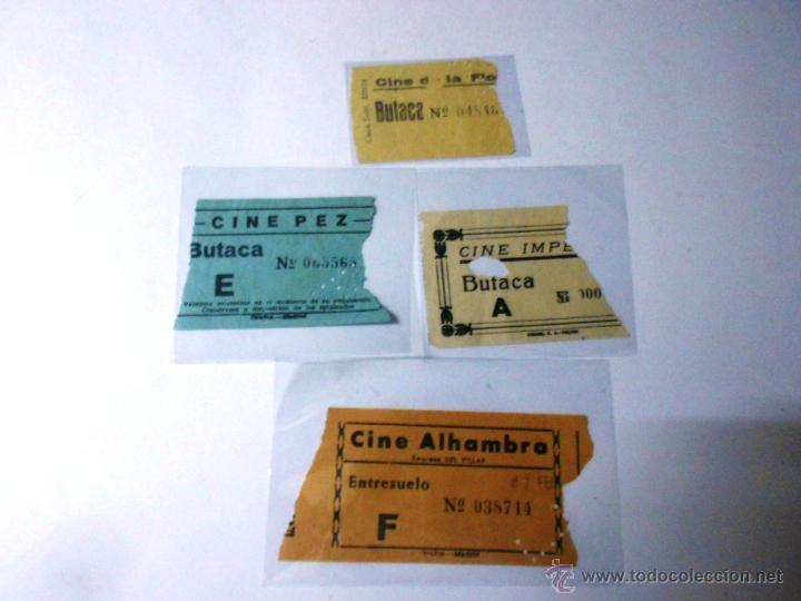 LOTE 4 ENTRADAS DE CINE MADRID: ALHAMBRA, PEZ, IMPERIAL, LA FLORIDA, VER FOTOS AÑOS 50 (Cine - Entradas)