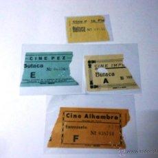 Cine: LOTE 4 ENTRADAS DE CINE MADRID: ALHAMBRA, PEZ, IMPERIAL, LA FLORIDA, VER FOTOS AÑOS 50. Lote 46764540