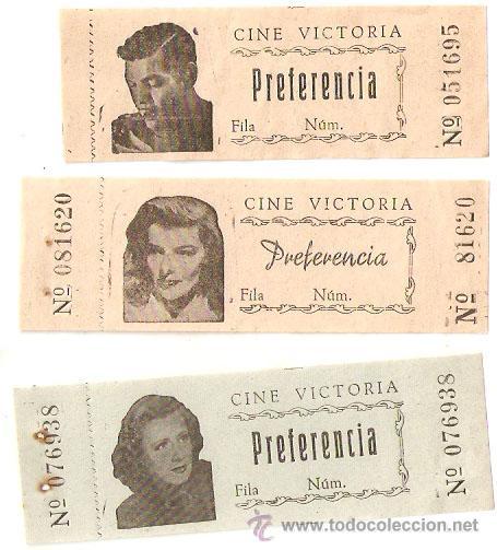 3 ENTRADAS ANTIGUAS DEL CINE VICTORIA DE BARCELONA. CON FOTOS DE ARTISTAS.-VELL I BELL. (Cine - Entradas)