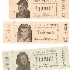 Cine: 3 ENTRADAS ANTIGUAS DEL CINE VICTORIA DE BARCELONA. CON FOTOS DE ARTISTAS.-VELL I BELL.. Lote 54196979