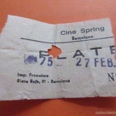 Cinéma: ENTRADA - CINE SPRING BARCELONA AÑOS 70 COLOR AMARILLO. Lote 57069158