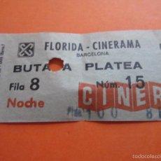 Cine: ENTRADA - CINE FLORIDA CINERAMA BUTACA PLATEA NOCHE BARCELONA AÑOS 70 COLOR VERDOSO. Lote 55935343