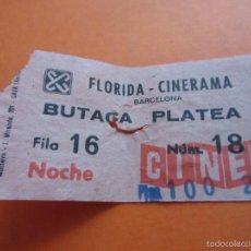 Cine: ENTRADA - CINE FLORIDA CINERAMA BUTACA PLATEA NOCHE BARCELONA AÑOS 70 COLOR SEPIA . Lote 55935354