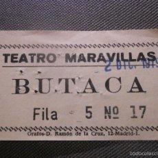 Cine: ENTRADA TEATRO - MARAVILLAS - MADRID - BUTACA - AÑO 1979 - . Lote 57121693