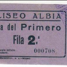 Cine: ENTRADA COLISEO ALBIA DE BILBAO, AÑOS 50. Lote 57952014