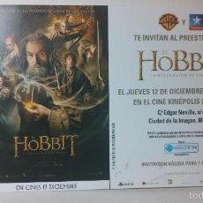 Cine: ENTRADA INVITACIÓN PREESTRENO EL HOBBIT KINEPOLIS. Lote 58162328