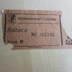 Cine: ENTRADA DE BUTACA DEL MONUMENTAL CINEMA DE MADRID DE FINALES DE LOS AÑOS 40. Lote 59610135