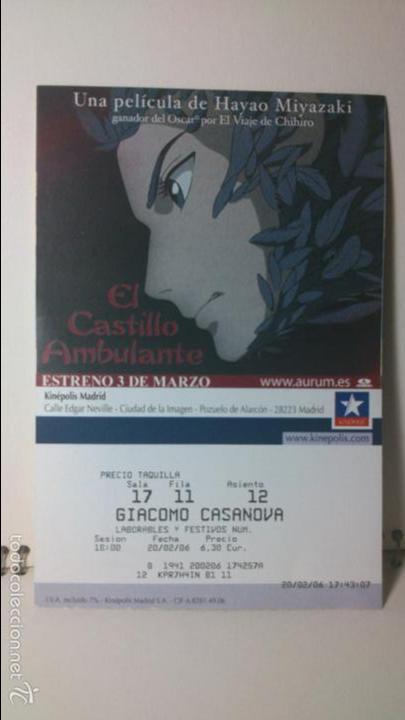 ENTRADA CINE KINEPOLIS - MOTIVO CASTILLO AMBULANTE - HAYAO MIYAZAKI 1 (Cine - Entradas)
