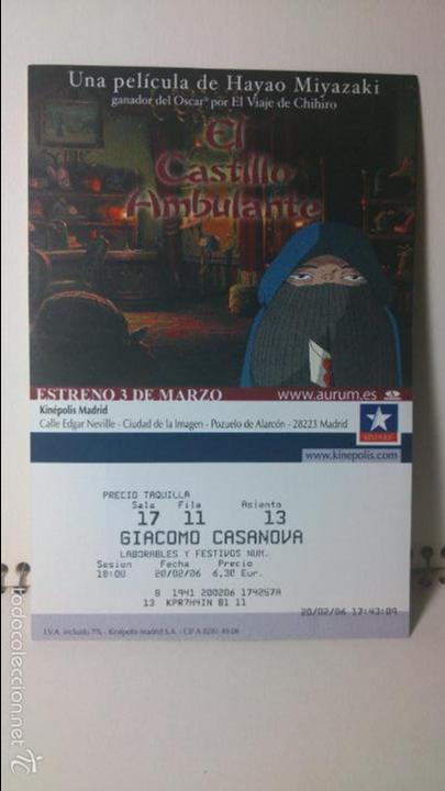 ENTRADA CINE KINEPOLIS - MOTIVO CASTILLO AMBULANTE - HAYAO MIYAZAKI 2 (Cine - Entradas)