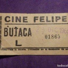 Cine: ENTRADA CINE - FELIPE II - 23 DE DICIEMBRE AÑO 1965. Lote 66310106